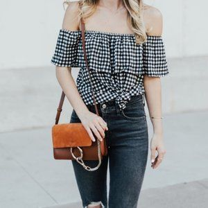 Sanctuary Ruffle Gingham Off the Shoulder Top